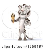 Clipart Of A 3d White Tiger Holding A Waffle Ice Cream Cone On A White Background Royalty Free Illustration