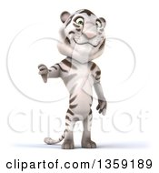 Clipart Of A 3d White Tiger Giving A Thumb Down On A White Background Royalty Free Illustration by Julos