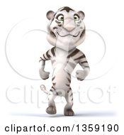 Clipart Of A 3d White Tiger Walking On A White Background Royalty Free Illustration by Julos