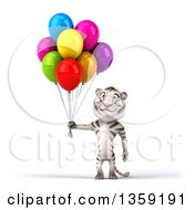 Clipart Of A 3d White Tiger Holding Party Balloons On A White Background Royalty Free Illustration by Julos