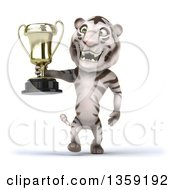 Clipart Of A 3d White Tiger Champion Walking With A Trophy On A White Background Royalty Free Illustration