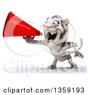 Clipart Of A 3d White Tiger Using A Megaphone On A White Background Royalty Free Illustration