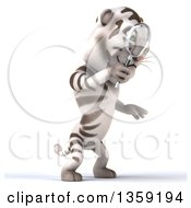 Clipart Of A 3d White Tiger Searching With A Magnifying Glass On A White Background Royalty Free Illustration