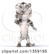 Clipart Of A 3d White Tiger Searching With A Magnifying Glass On A White Background Royalty Free Illustration by Julos