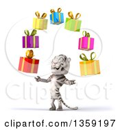 Clipart Of A 3d White Tiger Juggling Gifts On A White Background Royalty Free Illustration
