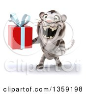 Clipart Of A 3d White Tiger Roaring And Holding A Gift On A White Background Royalty Free Illustration