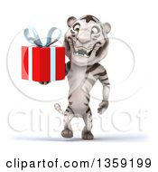 Clipart Of A 3d White Tiger Walking And Holding A Gift On A White Background Royalty Free Illustration