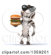 Clipart Of A 3d White Tiger Wearing Sunglasses Walking And Holding A Double Cheeseburger On A White Background Royalty Free Illustration