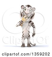 Clipart Of A 3d White Tiger Eating A Waffle Ice Cream Cone On A White Background Royalty Free Illustration by Julos