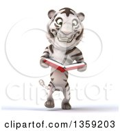 Clipart Of A 3d White Tiger Walking And Reading A Book On A White Background Royalty Free Illustration