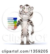 Clipart Of A 3d White Tiger Holding A Stack Of Books On A White Background Royalty Free Illustration by Julos