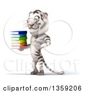 Clipart Of A 3d White Tiger Holding And Pointing To A Stack Of Books On A White Background Royalty Free Illustration