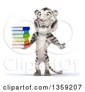 Clipart Of A 3d White Tiger Holding A Stack Of Books On A White Background Royalty Free Illustration