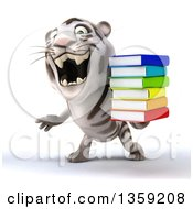 Clipart Of A 3d White Tiger Roaring And Holding A Stack Of Books On A White Background Royalty Free Illustration