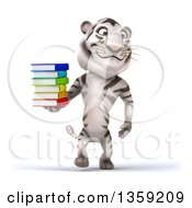 Clipart Of A 3d White Tiger Walking And Holding A Stack Of Books On A White Background Royalty Free Illustration