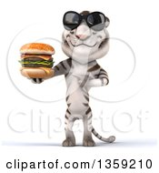 Clipart Of A 3d White Tiger Wearing Sunglasses And Holding A Double Cheeseburger On A White Background Royalty Free Illustration