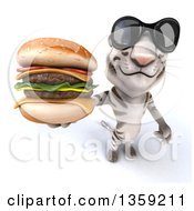 Clipart Of A 3d White Tiger Wearing Sunglasses And Holding Up A Double Cheeseburger On A White Background Royalty Free Illustration