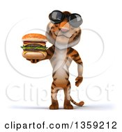 Clipart Of A 3d Tiger Wearing Sunglasses And Holding A Double Cheeseburger On A White Background Royalty Free Illustration by Julos