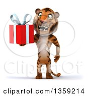 Clipart Of A 3d Tiger Holding A Gift On A White Background Royalty Free Illustration