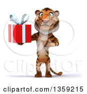 Clipart Of A 3d Tiger Holding And Pointing To A Gift On A White Background Royalty Free Illustration