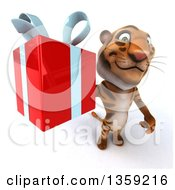 Clipart Of A 3d Tiger Holding Up A Gift On A White Background Royalty Free Illustration