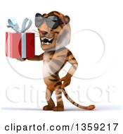 Clipart Of A 3d Tiger Wearing Sunglasses And Holding A Gift On A White Background Royalty Free Illustration