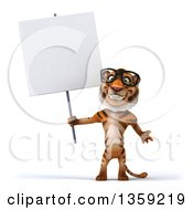 Clipart Of A 3d Bespectacled Tiger Holding A Blank Sign On A White Background Royalty Free Illustration