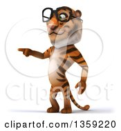 Clipart Of A 3d Bespectacled Tiger Pointing On A White Background Royalty Free Illustration