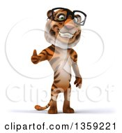 Clipart Of A 3d Bespectacled Tiger Giving A Thumb Up On A White Background Royalty Free Illustration