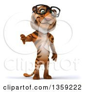 Clipart Of A 3d Bespectacled Tiger Giving A Thumb Down On A White Background Royalty Free Illustration