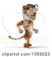Clipart Of A 3d Bespectacled Tiger Walking On A White Background Royalty Free Illustration