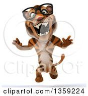Clipart Of A 3d Bespectacled Tiger Running And Roaring On A White Background Royalty Free Illustration