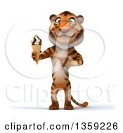 Clipart Of A 3d Tiger Holding A Waffle Ice Cream Cone On A White Background Royalty Free Illustration