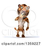Clipart Of A 3d Tiger Walking And Eating A Waffle Ice Cream Cone On A White Background Royalty Free Illustration by Julos
