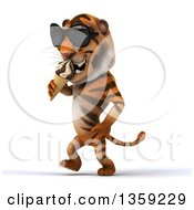 Clipart Of A 3d Tiger Wearing Sunglasses Walking And Eating A Waffle Ice Cream Cone On A White Background Royalty Free Illustration by Julos