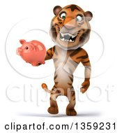 Clipart Of A 3d Tiger Walking With A Piggy Bank On A White Background Royalty Free Illustration