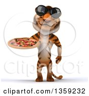 Clipart Of A 3d Tiger Wearing Sunglasses And Holding A Pizza On A White Background Royalty Free Illustration by Julos