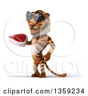 Clipart Of A 3d Tiger Wearing Sunglasses And Holding A Beef Steak On A White Background Royalty Free Illustration by Julos