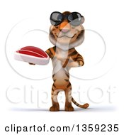 Clipart Of A 3d Tiger Wearing Sunglasses Holding And Pointing To A Beef Steak On A White Background Royalty Free Illustration by Julos