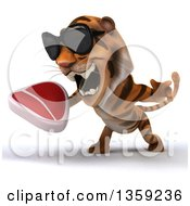 Clipart Of A 3d Tiger Wearing Sunglasses Roaring And Holding A Beef Steak On A White Background Royalty Free Illustration by Julos