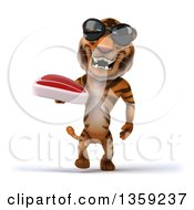 Clipart Of A 3d Tiger Wearing Sunglasses Walking And Holding A Beef Steak On A White Background Royalty Free Illustration by Julos