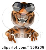 Clipart Of A 3d Tiger Wearing Sunglasses And Pointing Down Over A Sign On A White Background Royalty Free Illustration