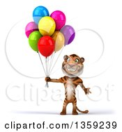 Clipart Of A 3d Tiger Holding Party Balloons On A White Background Royalty Free Illustration by Julos