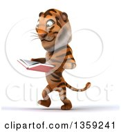 Clipart Of A 3d Tiger Walking And Reading A Book On A White Background Royalty Free Illustration by Julos