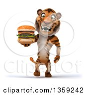 Clipart Of A 3d Tiger Walking And Holding A Double Cheeseburger On A White Background Royalty Free Illustration by Julos