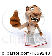 Clipart Of A 3d Tiger Holding Up A Thumb And A Book On A White Background Royalty Free Illustration by Julos
