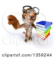 Clipart Of A 3d Bespectacled Tiger Holding Up A Thumb Down And A Stack Of Books On A White Background Royalty Free Illustration by Julos
