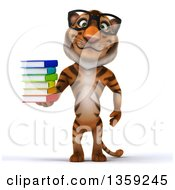 Clipart Of A 3d Bespectacled Tiger Holding A Stack Of Books On A White Background Royalty Free Illustration