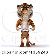 Clipart Of A 3d Bespectacled Tiger Reading A Book On A White Background Royalty Free Illustration by Julos