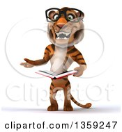 Clipart Of A 3d Bespectacled Tiger Presenting And Reading A Book On A White Background Royalty Free Illustration